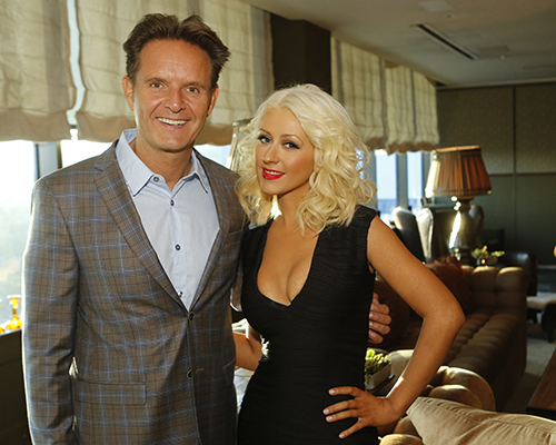 "Pictured: (l-r) Mark Burnett, Executive Producer and Christina Aguilera at an intimate dinner event for Season 5 of ""The Voice"" in West Hollywood, CA.  ""The Voice"" premieres on Monday, September 23rd at 8pm -- (Photo by: Trae Patton/NBC)"