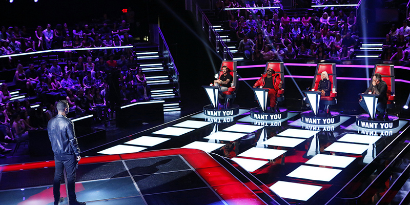 "THE VOICE -- ""Blind Auditions"" Episode 504 -- Pictured: (l-r) James Irwin, Adam Levine, CeeLo Green, Christina Aguilera, Blake Shelton -- (Photo by: Trae Patton/NBC)"