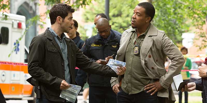 "GRIMM -- ""A Dish Best Served Cold"" Episode 303 -- Pictured: (l-r) David Giuntoli as Nick Burkhardt, Russell Hornsby as Hank Griffin -- (Photo by: Scott Green/NBC)"