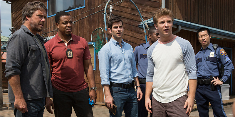 "GRIMM -- ""One Night Stand"" Episode 304 -- Pictured: (l-r) Brian McNamara as Abel Mahario, Russell Hornsby as Hank Griffin, David Giuntoli as Nick Burkhardt, Michael Welch as Jake, Reggie Lee as Sgt. Wu -- (Photo by: Scott Green/NBC)"