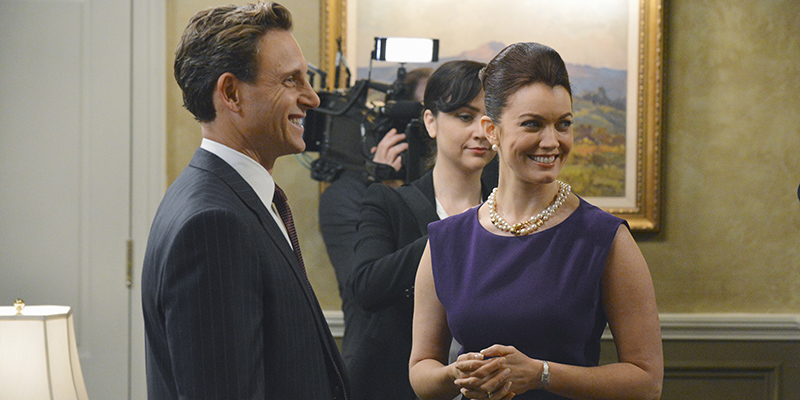 Pictured: President Grant (Tony Goldwyn) and Mellie Grant (Bellamy Young); Credit: ABC/Eric McCandless)