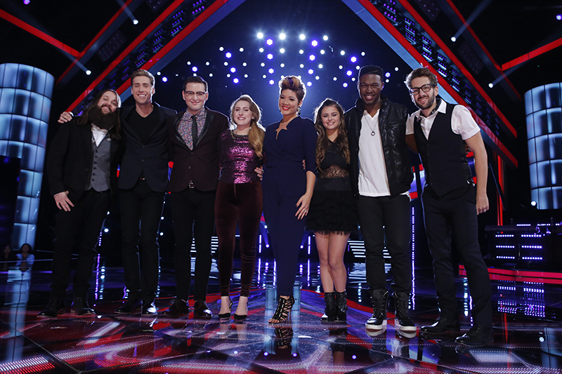 "THE VOICE -- ""Live Show"" Episode 515B -- Pictured: (l-r) Cole Vosbury, Ray Boudreaux, James Wolpert, Caroline Pennell, Tessanne Chin, Jacquie Lee, Matthew Schuler, Will Champlin -- (Photo by: Trae Patton/NBC)"