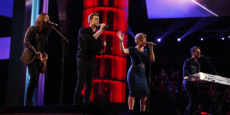 "THE VOICE -- ""Live Show"" Episode 516A -- Pictured: (l-r) Cole Vosbury, Ray Boudreaux, Tessanne Chin, Will Champlin -- (Photo by: Trae Patton/NBC)"