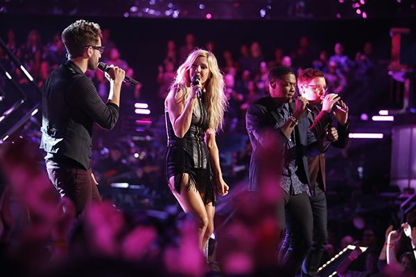 "THE VOICE -- ""Live Show"" Episode 516B -- Pictured: (l-r) Will Champlin, Ellie Goulding, Matthew Schuler, James Wolpert -- (Photo by: Trae Patton/NBC)"