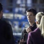 """Arrow -- """"The Scientist"""" -- Image AR208b_0204b -- Pictured (L-R): Stephen Amell as Oliver Queen, Grant Gustin as Barry Allen, and Emily Bett Rickards as Felicity Smoak -- Photo: Cate Cameron/The CW -- © 2013 The CW Network. All Rights Reserved"""
