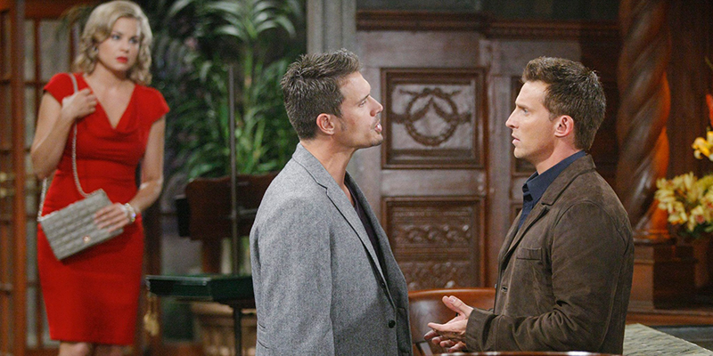 A bombshell revealed as blows are thrown! Pictured: (l-r) Jessica Collins as Avery, Joshua Morrow as Nick and Steve Burton as Dylan; Photo Credit: CBS