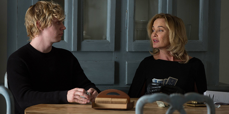 AMERICAN HORROR STORY: COVEN Head - Episode 309 (Airs Wednesday, December 11, 10:00 PM e/p) --Pictured: (L-R) Evan Peters as Kyle, Jessica Lange as Fiona -- CR. Michele K. Short/FX
