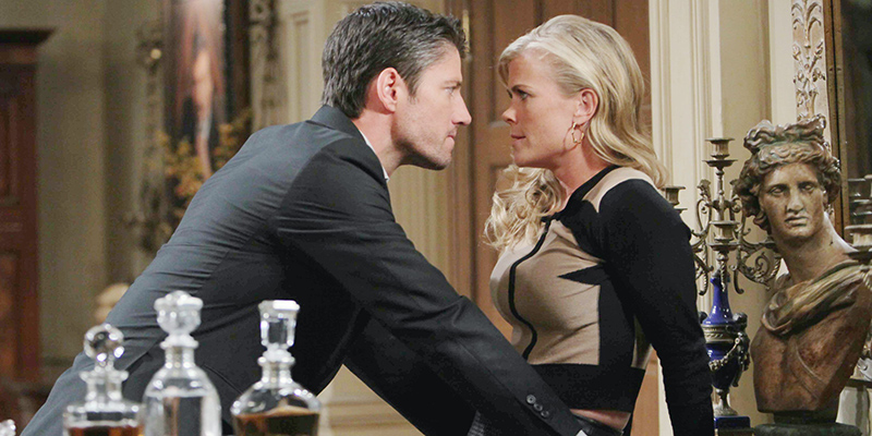 EJ (James Scott) and Sami (Alison Sweeney) have it out. Photo courtesy NBC