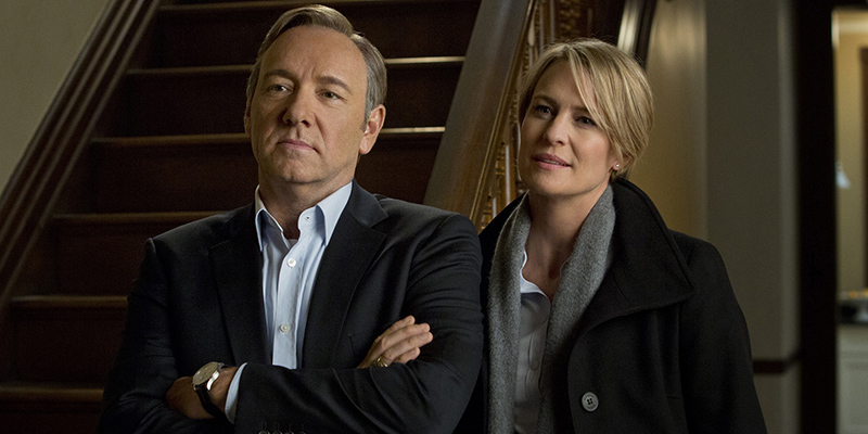 """House of Cards'"" Kevin Spacey and Robin Wright earn big nominations at the Golden Globes. Photo Credit: Netflix"