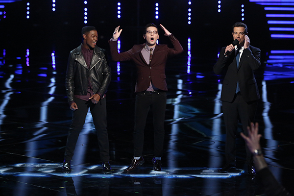 "THE VOICE -- ""Live Show"" Episode 517B -- Pictured: (l-r) Matthew Schuler, James Wolpert, Carson Daly -- (Photo by: Tyler Golden/NBC)"
