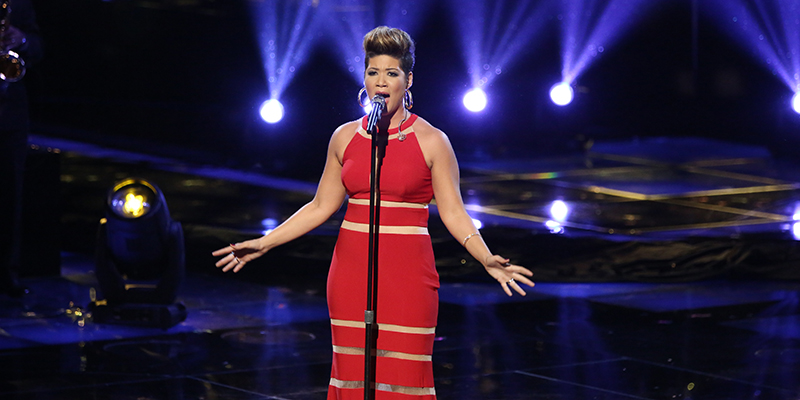 "THE VOICE -- ""Live Show"" Episode 519A -- Pictured: Tessanne Chin -- (Photo by: Tyler Golden/NBC)"