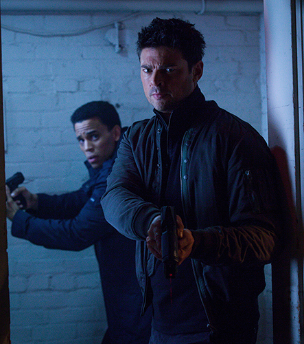 "ALMOST HUMAN: L-R: Dorian (Michael Ealy) and Det. John Kennex (Karl Urban) in the ""You Are Here"" episode of ALMOST HUMAN airing Monday, Jan. 13 (8:00-9:00 PM ET/PT) on FOX. ©2013 Fox Broadcasting Co. Cr: Liane Hentscher / FOX"