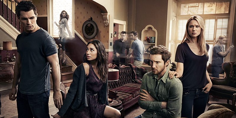 BEING HUMAN -- Season:4 -- Pictured: (l-r) Sam Witwer as Aidan Waite, Meaghan Rath as Sally Malik, Sam Huntington as Josh Levison, Kristen Hanger as Nora Sergeant -- (Photo by: Art Streiber/Syfy)