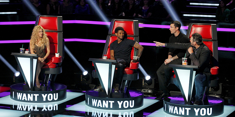 "THE VOICE -- ""Blind Auditions"" -- Pictured: (l-r) Shakira, Usher, Adam Levine, Blake Shelton -- (Photo by: Trae Patton/NBC)"