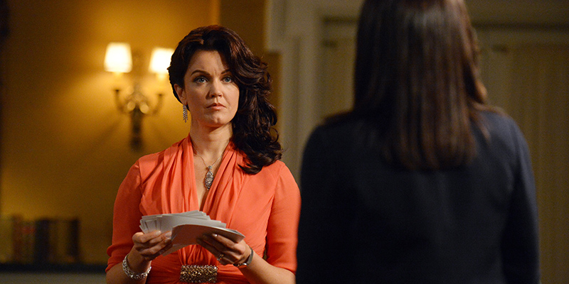 "SCANDAL - ""We Do Not Touch the First Ladies"" Mellie (Bellamy Young) has some choice words for Olivia (Kerry Washington); Photo Credit ABC/Eric McCandless"