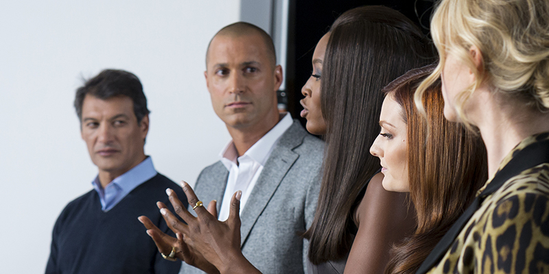 "THE FACE -- ""Bare Your New Look""  Episode 202 -- Pictured: All eyes are on Naomi as she instructs the modeltestans -- (Photo by: Steve Fenn/Oxygen)"