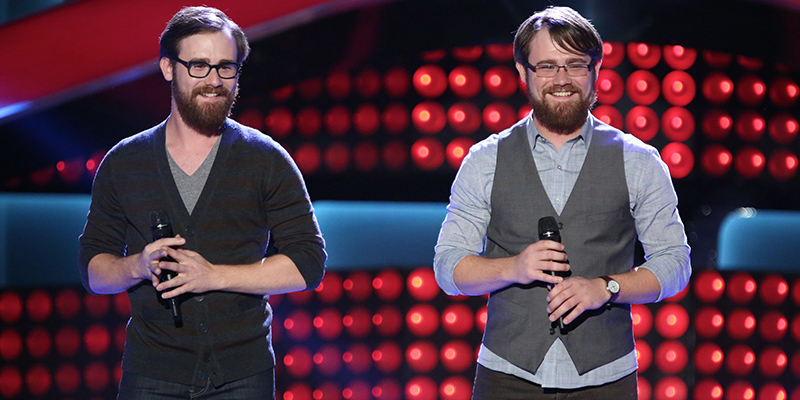 "THE VOICE -- ""Blind Auditions"" Episode 603 -- Pictured: (l-r) Coty Walker and Clinton Walker of Brothers Walker -- (Photo by: Tyler Golden/NBC)"