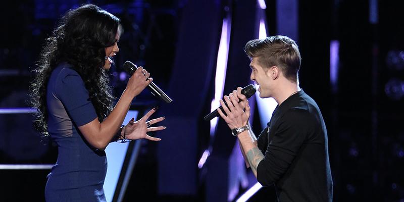 "THE VOICE -- ""Battle Round 2"" Episode 613 -- Pictured: (l-r) Brittnee Camelle, Jake Barker -- (Photo by: Tyler Golden/NBC)"