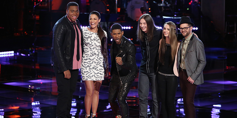 "THE VOICE -- ""Playoffs"" Episode 616 -- Pictured: (l-r) T.J. Wilkins, Melissa Jimenez, Usher, Stevie Jo, Bria Kelly, Josh Kaufman -- (Photo by: Tyler Golden/NBC)"