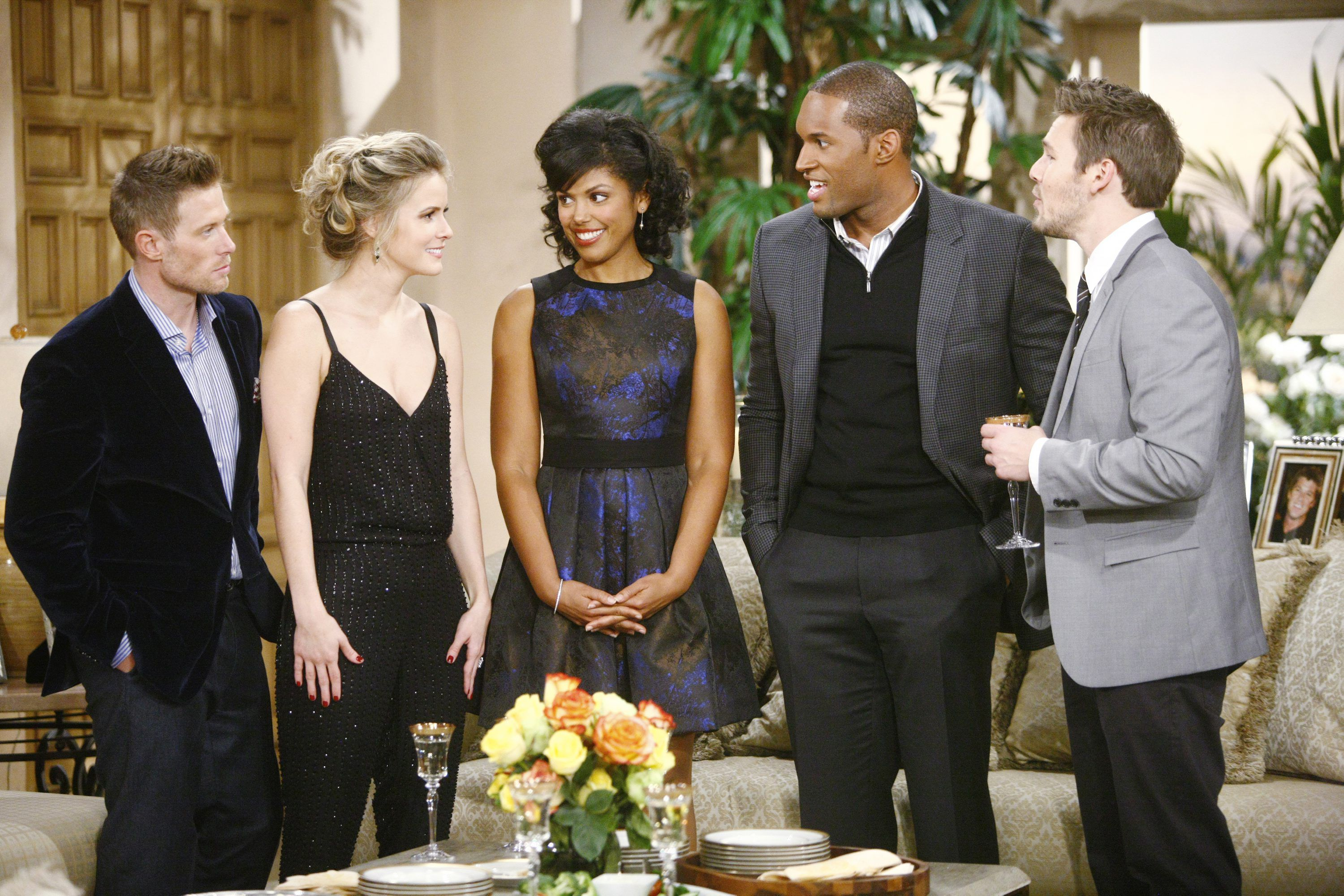 """Jacob Young, Linsey Godfrey, Karla Mosley, Lawrence Saint Victor, Scott Clifton """"The Bold and the Beautiful"""" Set  CBS Television City Los Angeles, Ca. 10/15/13 © sean smith/jpistudios.com 310-657-9661 Episode # 6710 U.S.Airdate 11/27/13"""