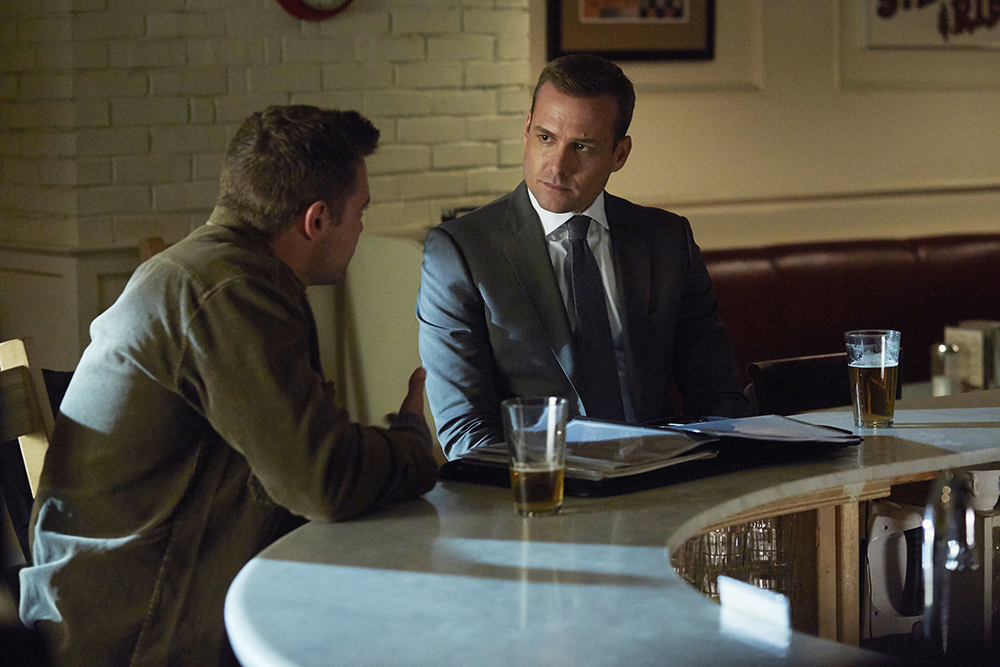 """SUITS -- """"Not Just a Pretty Face"""" Episode 416 -- Pictured: (l-r) Billy Miller as Marcus Specter, Gabriel Macht as Harvey Specter -- (Photo by: Shane Mahood/USA Network)"""