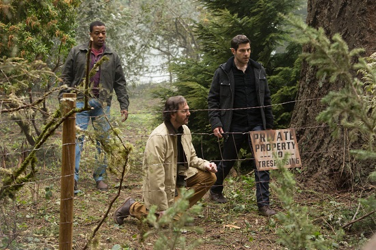 """GRIMM -- """"Iron Hans"""" Episode 419 -- Pictured: (l-r) Russell Hornsby as Hank Griffin, Silas Weir Mitchell as Monroe, David Giuntoli as Nick Burkhardt -- (Photo by: Scott Green/NBC)"""