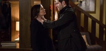 "GRIMM -- ""Cry Havoc"" Episode 422 -- Pictured: (l-r) Bitsie Tulloch as Juliette Silverton, David Giuntoli as Nick Burkhardt -- (Photo by: Scott Green/NBC)"