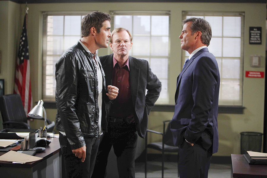 "Galen Gering, Josh Taylor, Wally Kurth ""Days of our Lives"" Set NBC Studios Burbank 04/13/15 © Howard Wise/jpistudios.com 310-657-9661 Episode # 12672 U.S.Airdate 09/10/15"