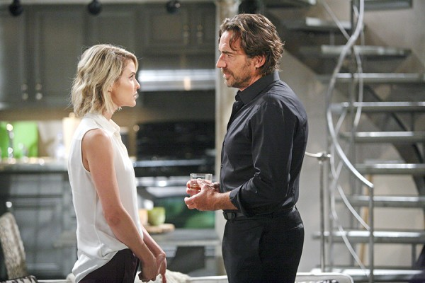 Ridge (Thorsten Kaye) breaks the bad news to his new wife Caroline (Linsey Godfrey). Photo Credit: © Sean Smith/jpistudios.com