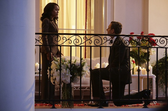 "SCANDAL - ""Get Out of Jail, Free"" - Fitz and Olivia are presented with a shocking plan that might just make all of their troubles go away, and Mellie is put through the ringer when confronted about her troubled marriage. Meanwhile, the Gladiators continue to defend Olivia, and Susan Ross turns to David for advice, on ""Scandal,"" THURSDAY, OCTOBER 29 (9:00-10:00 p.m., ET) on the ABC Television Network.  (ABC/Nicole Wilder) KERRY WASHINGTON, TONY GOLDWYN"