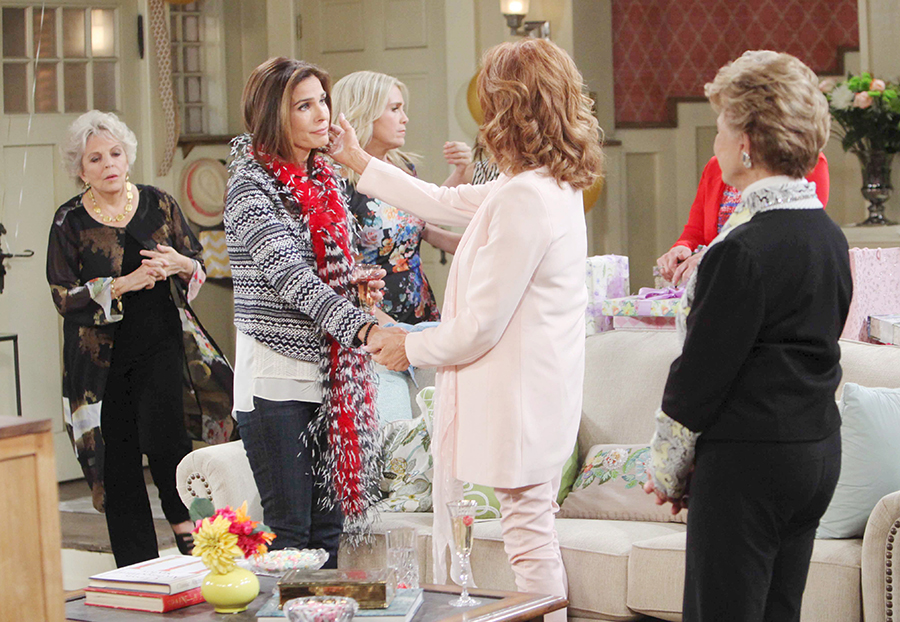 "Kristian Alfonso, Susan Seaforth Hayes, Suzanne Rogers, Melissa Reeves, Mary Beth Evans, Kate Mansi ""Days of our Lives"" Set NBC Studios Burbank 05/14/15 © sean smith/jpistudios.com 310-657-9661 Episode # 12705 U.S.Airdate 10/27/15"