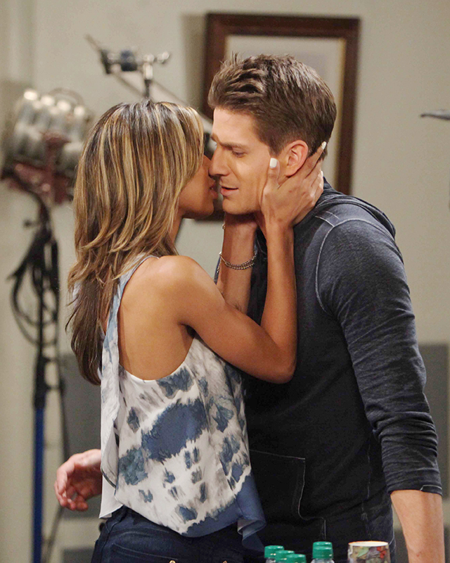 Valerie (Brytni Sarpy) likes to kiss and tell with Dillon (Robert Palmer Watkins) in a scene airing October 1, 2015. Photo Credit: © Howard Wise/jpistudios.com