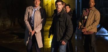 "GRIMM -- ""Wesen Nacht"" Episode 506 -- Pictured: (l-r) Sasha Roiz as Captain Renard, David Giuntoli as Nick Burkhardt, Russell Hornsby as Hank Griffin -- (Photo by: Scott Green/NBC)"