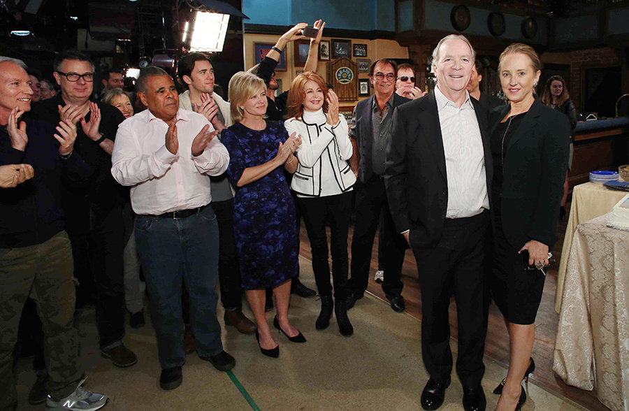 Pictured: Far left, Days of our Lives owner and executive producer Ken Corday and NBC Entertainment President Jennifer Salke on the set of Days of our Lives for the 50th anniversary celebration in November. Also pictured (l-r): co-executive producer Greg Meng, head writer Josh Griffith, co-executive producer Albert Alarr, actors Billy Flynn, Mary Beth Evans, Suzanne Rogers, Thaoo Penglis, Josh Taylor. Photo Credit: © Howard Wise/JPI