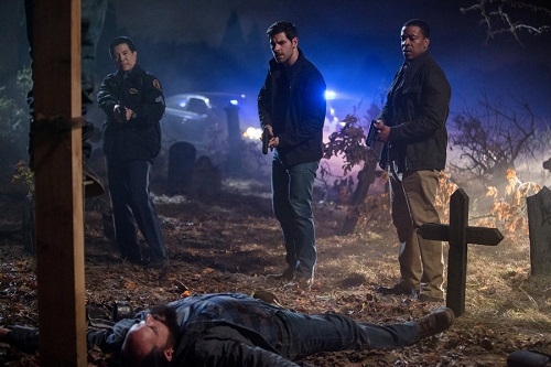 "GRIMM -- ""Star Crossed"" Episode 509 -- Pictured: (l-r) Reggie Lee as Sgt. Wu, David Giuntoli as Nick Burkhardt, Russell Hornsby as Hank Griffin -- (Photo by: Scott Green/NBC)"