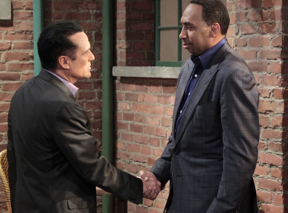 """GENERAL HOSPITAL - ESPN's Stephen A. Smith will make a cameo appearance Thursday, March 31, 2016 on ABC's """"General Hospital.""""  The Emmy-winning daytime drama """"General Hospital"""" airs Monday-Friday (3:00 p.m. - 4:00 p.m., ET) on the ABC Television Network.    GH16(ABC/Rick Rowell)MAURICE BENARD, STEPHEN A. SMITH"""