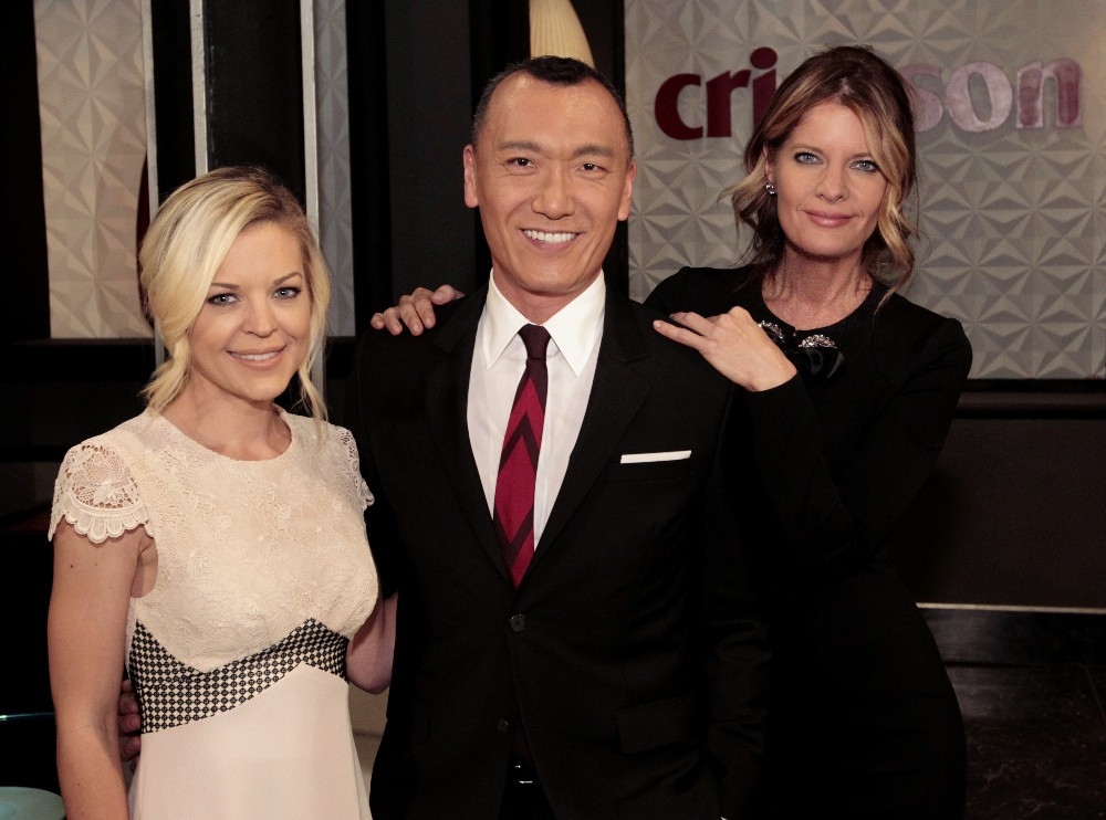 """GENERAL HOSPITAL - """"FABLife"""" host, editor-in-chief, Yahoo Style and longtime """"General Hospital"""" enthusiast, Joe Zee will make cameo appearance on Friday, April 1, 2016 on ABC's """"General Hospital.""""  The Emmy-winning daytime drama """"General Hospital"""" airs Monday-Friday (3:00 p.m. - 4:00 p.m., ET) on the ABC Television Network.    GH16 (ABC/Rick Rowell) KIRSTEN STORMS, JOE ZEE, MICHELLE SAFFORD"""