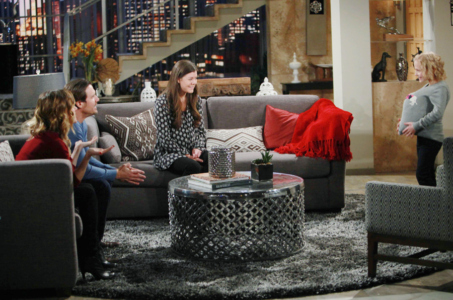 """Alyvia Alyn Lind, Devin Martinez, Kelly Sullivan, Joshua Morrow """"The Young and the Restless"""" Set  CBS television City Los Angeles 02/11/16 © Howard Wise/jpistudios.com 310-657-9661 Episode # 10883 U.S. Airdate 03/22/16"""