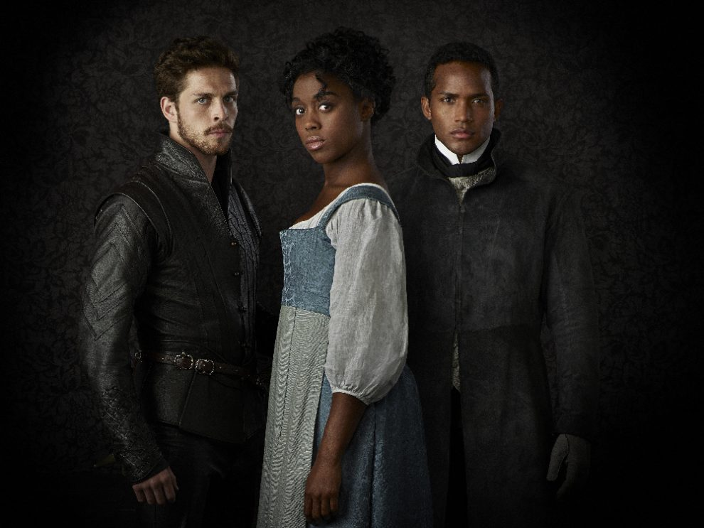 "STILL STAR-CROSSED - ABC's ""Still Star-Crossed"" stars Wade Briggs as Benvolio, Lashana Lynch as Rosaline and Sterling Sulieman as Prince Escalus. (ABC/Ed Herrera)"