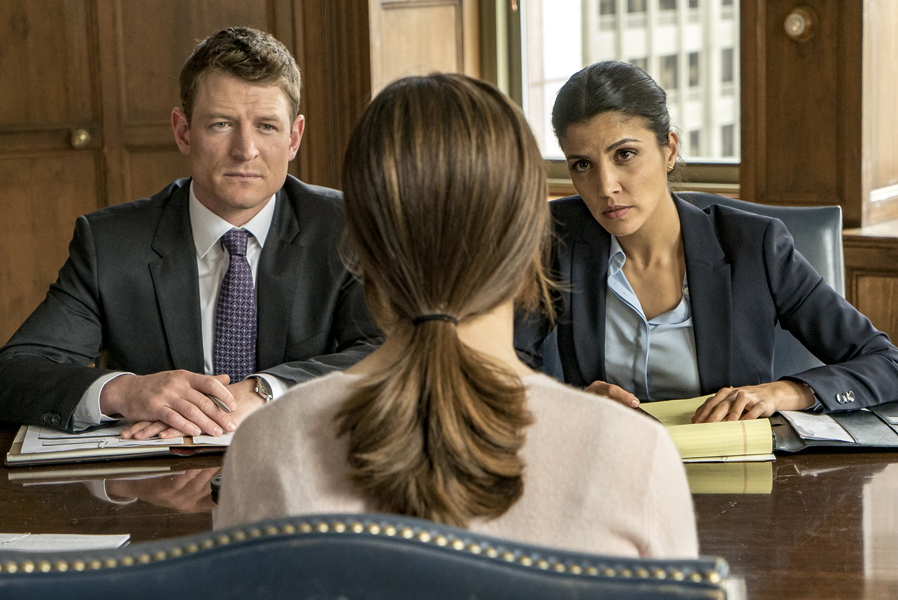 "CHICAGO P.D. -- ""Justice"" Episode 321 -- Pictured: (l-r) Philip Winchester as Peter Stone, Nazneen Contractor as ASA Dawn Patel -- (Photo by: Matt Dinerstein/NBC)"