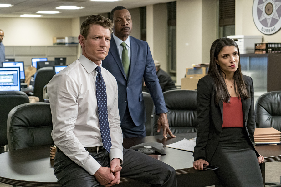 "CHICAGO P.D. -- ""Justice"" Episode 321 -- Pictured: (l-r) Philip Winchester as Peter Stone, Carl Weathers as Mark Jefferies, Nazneen Contractor as ASA Dawn Patel -- (Photo by: Matt Dinerstein/NBC)"