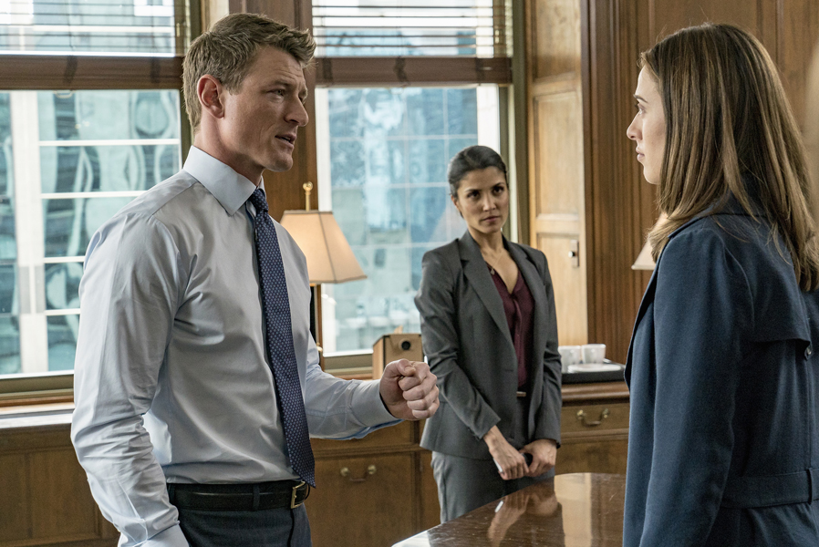 CHICAGO JUSTICE -- Episode Pilot -- Pictured: (l-r) Philip Winchester as Peter Stone, Nazneen Contractor as ASA Dawn Patel, Marina Squerciati as Kim Burgess -- (Photo by: Matt Dinerstein/NBC)