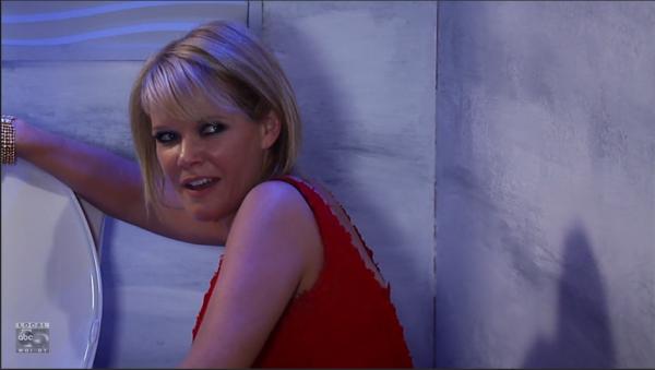 Ava flushes the evidence.