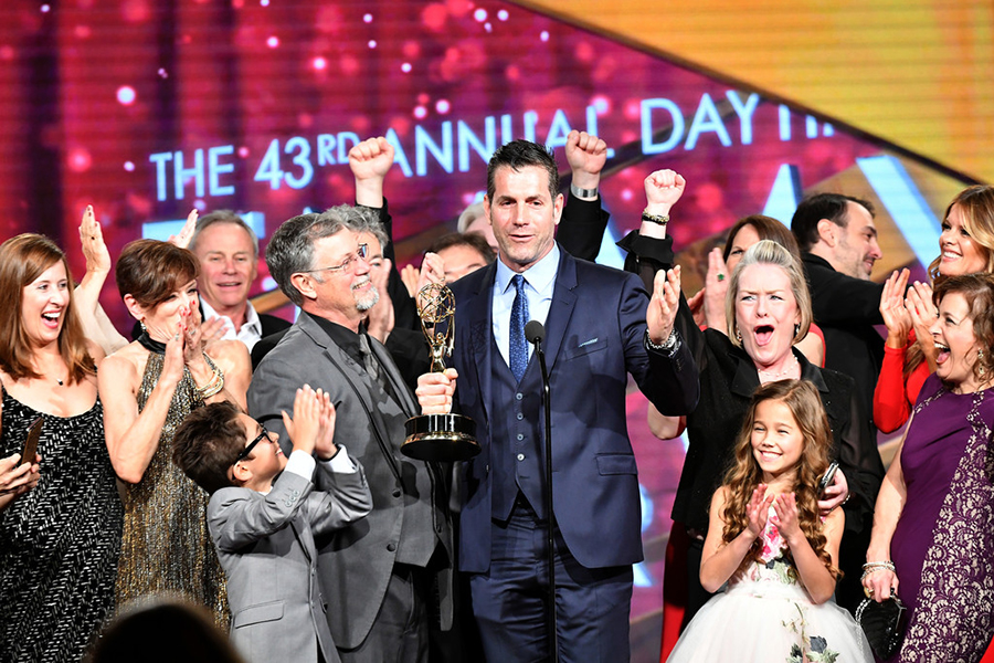 Producer Frank Valentini speaks onstage to accept the Emmy for Outstanding Drama Series: General Hospital at the 43rd Annual Daytime Emmy Awards at the Westin Bonaventure Hotel on May 1, 2016 in Los Angeles, California: Source: Earl Gibson III/Getty Images North America)