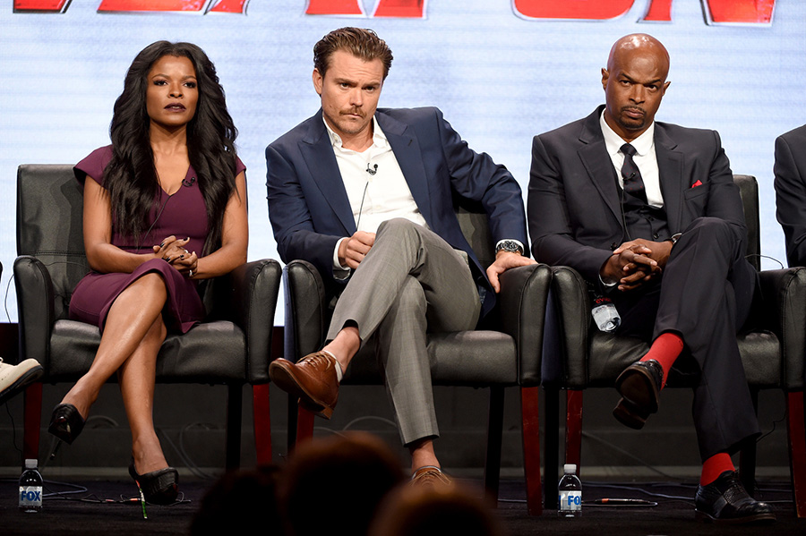2016 FOX SUMMER TCA: LETHAL WEAPON: (L-R) Cast members Keesha Sharp, Clayne Crawford, and Damon Wayans during the LETHAL WEAPON panel at the 2016 FOX SUMMER TCA, Monday, Aug. 8 at the Beverly Hilton in Beverly Hills, CA. CR: Frank Micelotta/FOX
