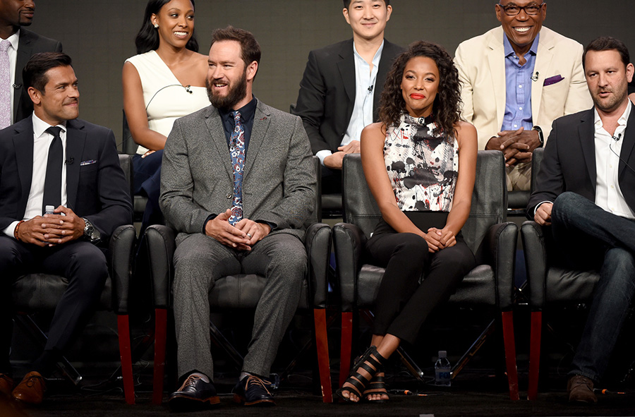 2016 FOX SUMMER TCA: PITCH: (L-R Top Row) Cast members Meagan Holder and Tim Jo, and Executive Producer/Director Paris Barclay, (L-R Bottom Row) cast members Mark Consuelos, Mark-Paul Gosselaar, and Kylie Bunbury, and Creator/Executive Producer Dan Fogelman during the PITCH panel at the 2016 FOX SUMMER TCA, Monday, Aug. 8 at the Beverly Hilton in Beverly Hills, CA. CR: Frank Micelotta/FOX