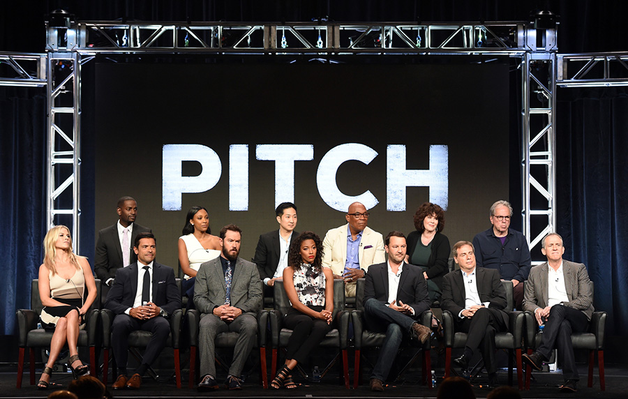 2016 FOX SUMMER TCA: PITCH: (L-R Top Row) Cast members Mo McRae, Meagan Holder, and Tim Jo, and Executive Producer/Director Paris Barclay, Executive Producer Helen Bartlett, and Executive Producer Tony Bill (L-R Bottom Row) cast members Ali Larter, Mark Consuelos, Mark-Paul Gosselaar, and Kylie Bunbury, and Creators/Executive Producers Dan Fogelman and Rick Singer, and Executive Producer Kevin Falls during the PITCH panel at the 2016 FOX SUMMER TCA, Monday, Aug. 8 at the Beverly Hilton in Beverly Hills, CA. CR: Frank Micelotta/FOX