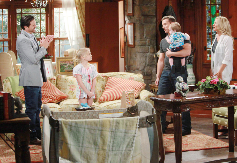 """Sharon Case, Steve Burton, Alyvia Alyn Lind, Joshua Morrow """"The Young and the Restless"""" Set  CBS television City Los Angeles 06/23/16 © Howard Wise/jpistudios.com 310-657-9661 Episode # 10978 U.S. Airdate 08/02/16"""