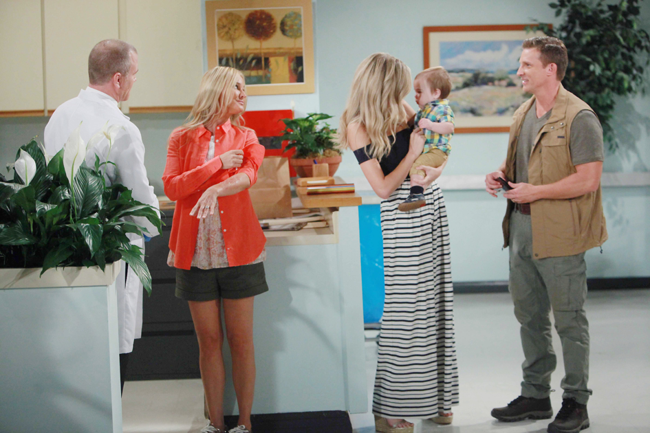"""Sean Carrigan, Melissa Ordway, Steve Burton, Sharon Case """"The Young and the Restless"""" Set  CBS television City Los Angeles 06/28/16 © Howard Wise/jpistudios.com 310-657-9661 Episode # 10981 U.S. Airdate 08/05/16"""