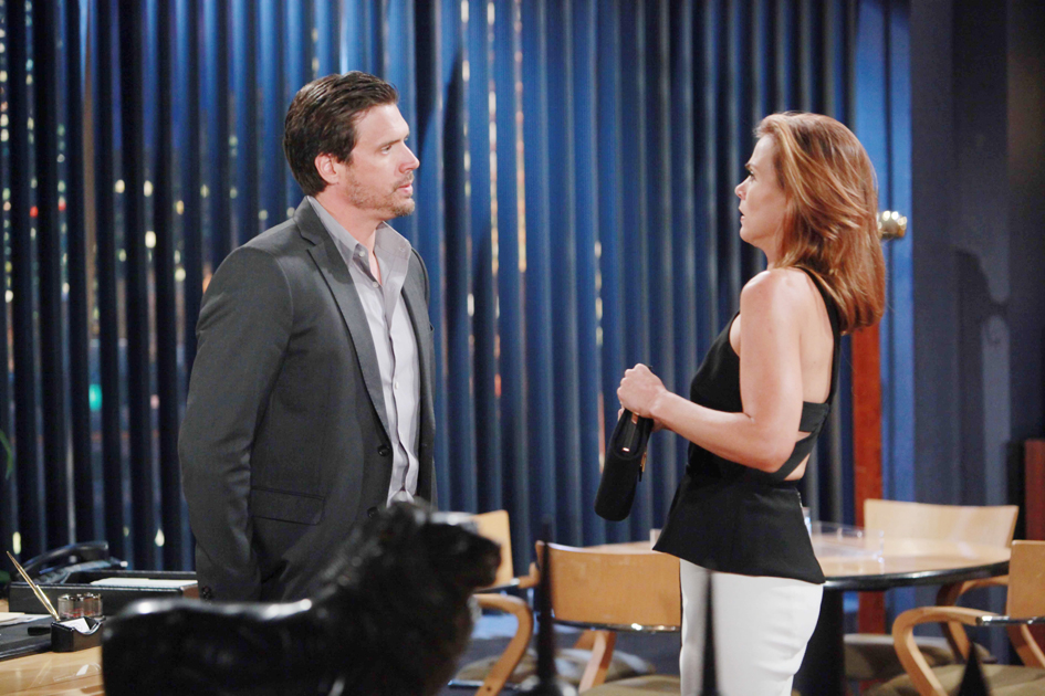 "Gina Tognoni, Joshua Morrow ""The Young and the Restless"" Set  CBS television City Los Angeles 07/12/16 © Howard Wise/jpistudios.com 310-657-9661 Episode # 10987 U.S. Airdate 08/15/16"
